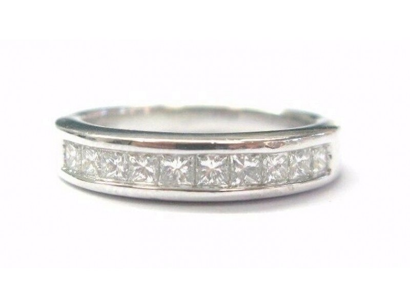 Platinum Princess Cut Diamond 10-Stone Band Ring .55Ct