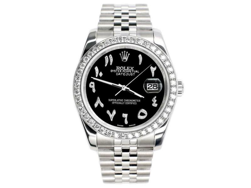 Rolex Datejust 116200 36mm 2ct Diamond Bezel/Black Arabic Dial Steel Watch