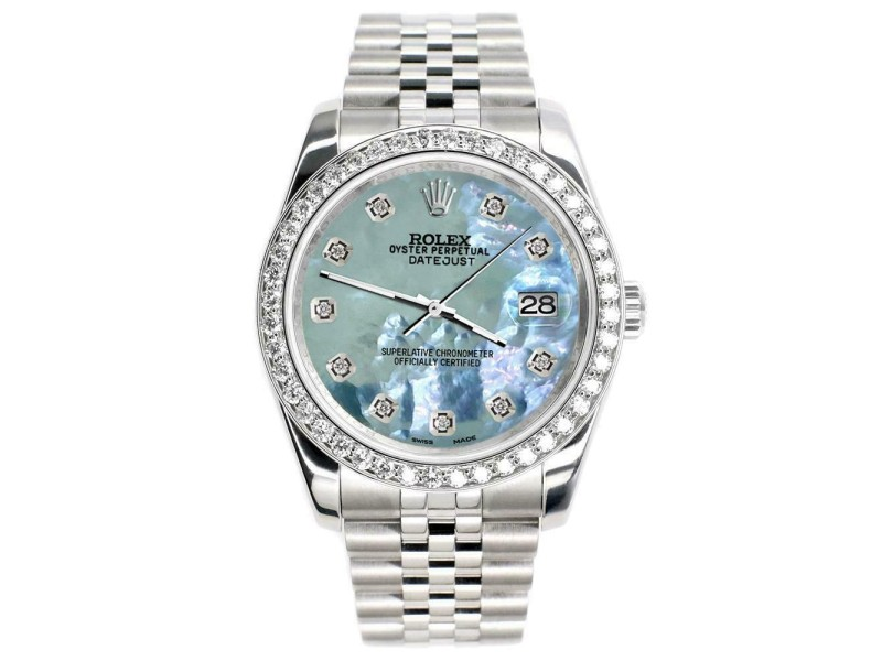 Rolex Datejust 116200 36mm 1.85ct Diamond Bezel/Tahitian Blue Dial Steel Watch