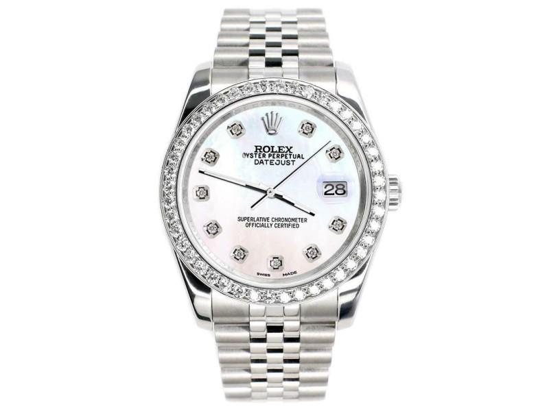 Rolex Datejust 116200 36mm 1.85ct Diamond Bezel/White Pearl Dial Steel Watch