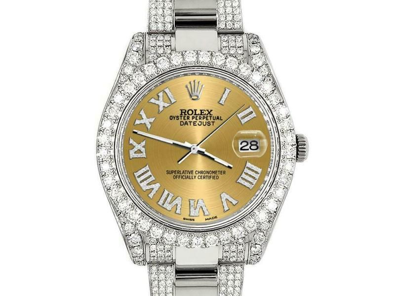 Rolex Datejust II 41mm Diamond Bezel/Lugs/Bracelet/Champagne Roman Dial Watch