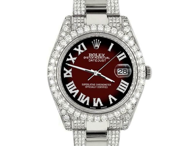Rolex Datejust II 41mm Diamond Bezel/Lugs/Bracelet/Maroon Vignette Roman Watch