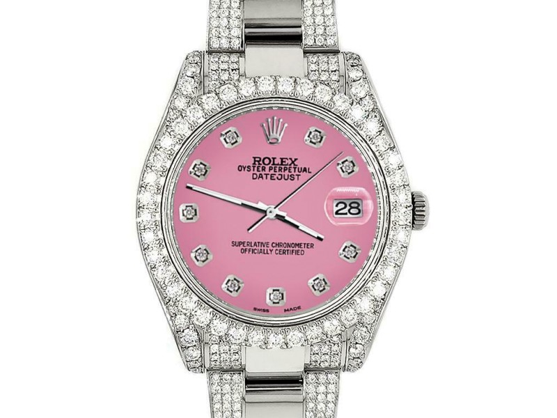 Rolex Datejust II 41mm Diamond Bezel/Lugs/Bracelet/Hot Pink Diamond Dial Watch