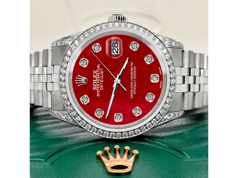 Rolex Datejust 36mm Steel Watch with 2.85ct Diamond Bezel/Pave Case/Red MOP Dial