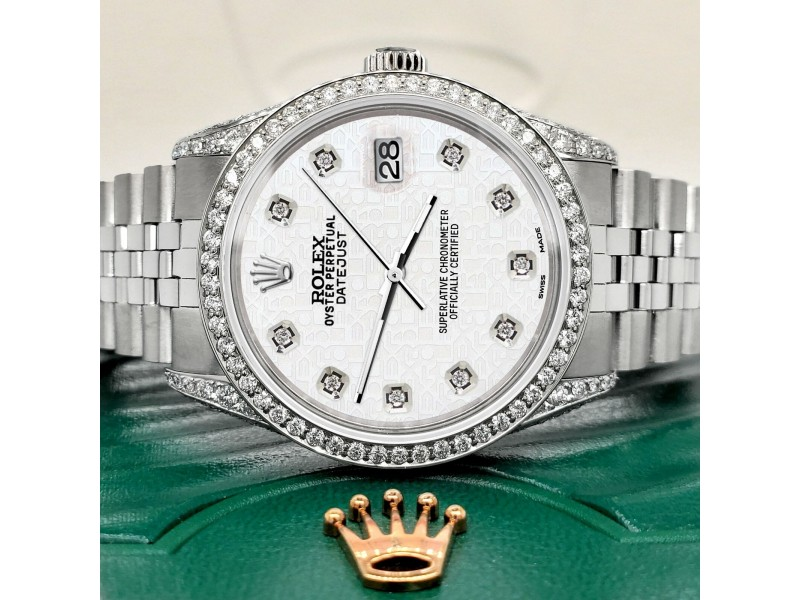 Rolex Datejust 36mm Watch With 2.85ct Diamond Bezel/Pave Case/White Jubilee Dial