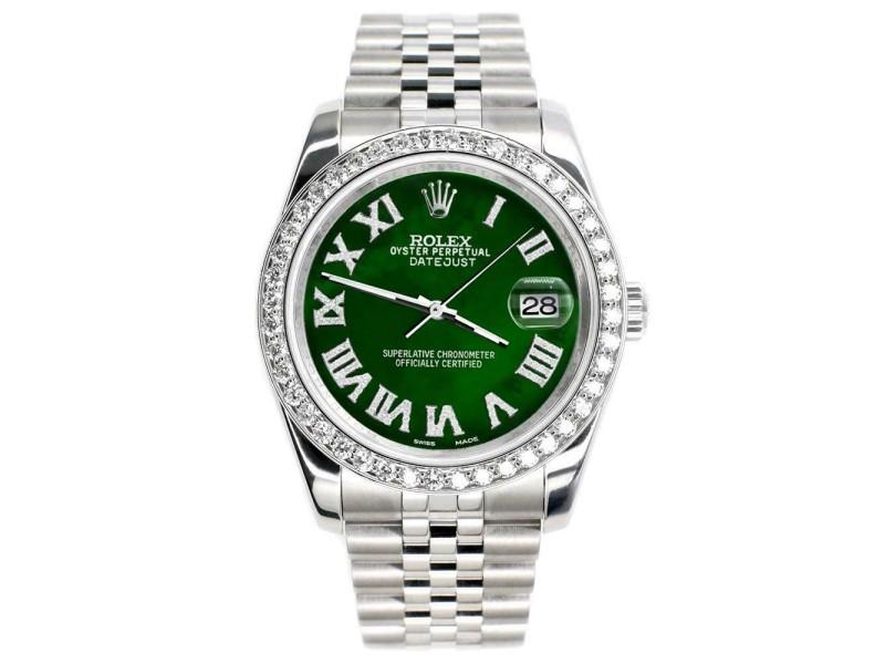 Rolex Datejust 116200 36mm 2.0ct Diamond Bezel/Green MOP Roman Dial Steel Watch