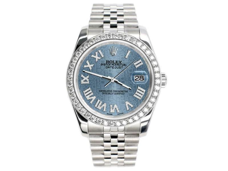 Rolex Datejust 116200 36mm 2.0ct Diamond Bezel/Ice Blue Jubilee Roman Dial Watch