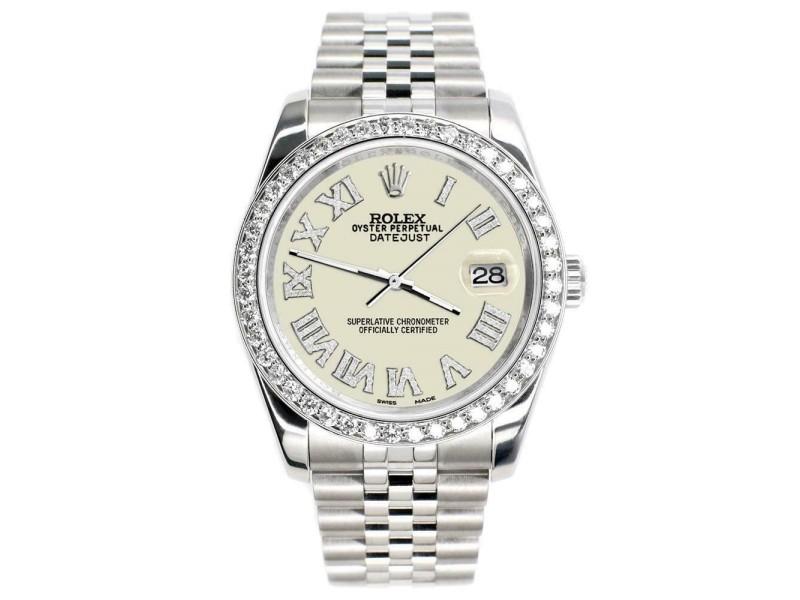 Rolex Datejust 116200 36mm 2ct Diamond Bezel/Linen White Roman Dial Steel Watch