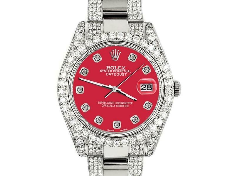 Rolex Datejust II 41mm 10.3CT Diamond Bezel/Case/Bracelet/Scarlet Red/Box Papers
