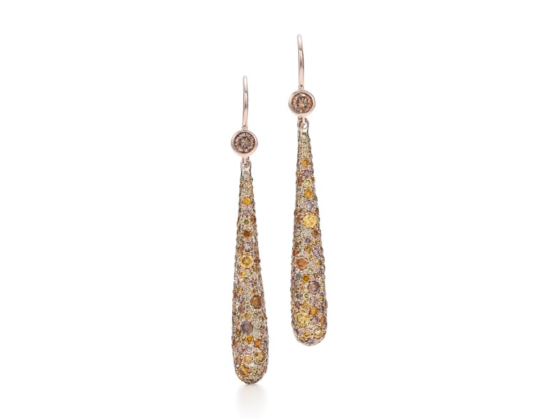 Kwiat 18k Rose Gold Hanging Earrings From The Cobblestone Collection