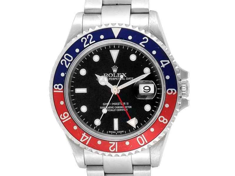 Rolex GMT Master II Error Dial Pepsi Bezel Mens Watch 16710 Box Papers