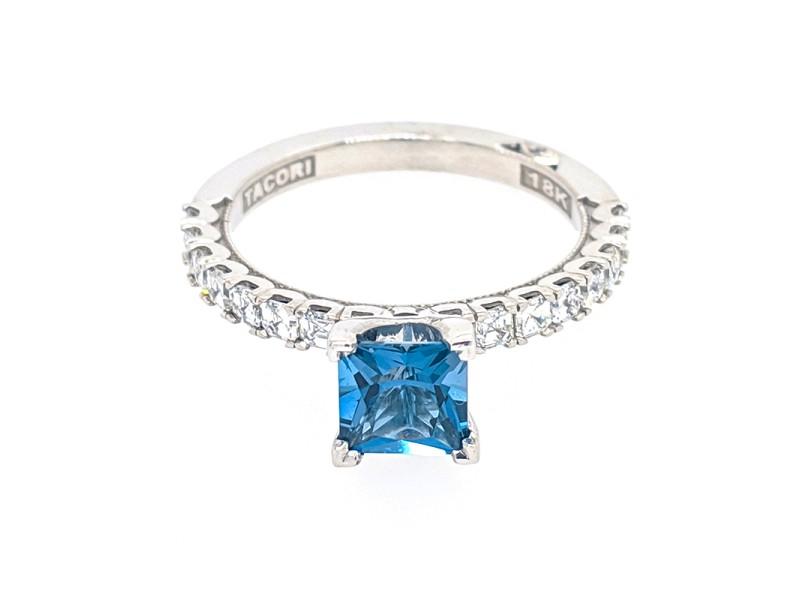 Tacori 18k White Gold London Blue Topaz, Diamonds Ring