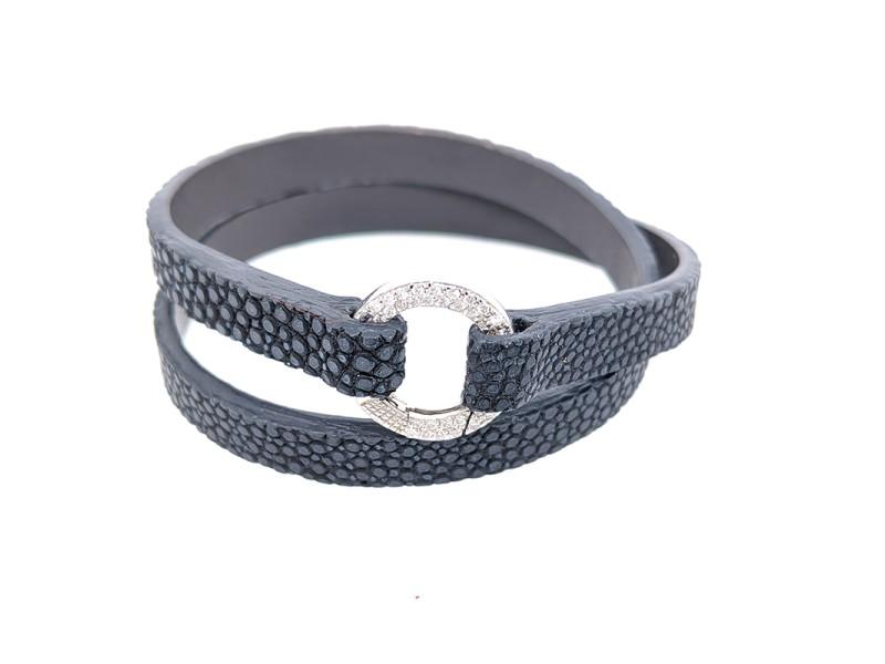 Aaron Basha Dark Grey Stingray Double Wrap Bracelet with 18k White Gold Diamond Clasp