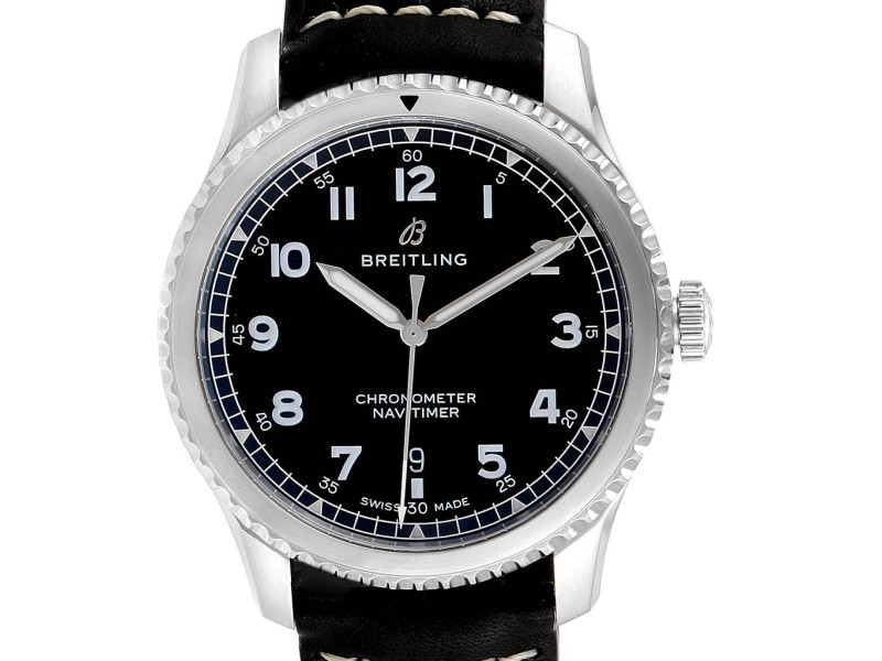 Breitling Navitimer Black Dial Leather Strap Steel Mens Watch A17314