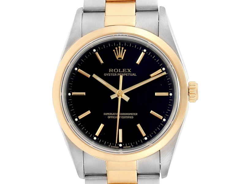 Rolex Oyster Perpetual Nondate Steel Yellow Gold Mens Watch 14203