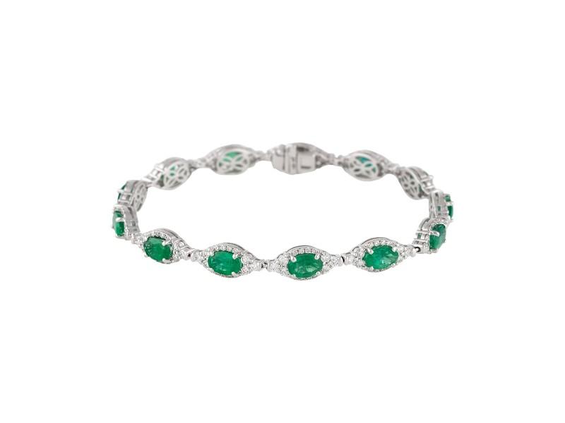 18k White Gold Diamond And Emerald Bracelet