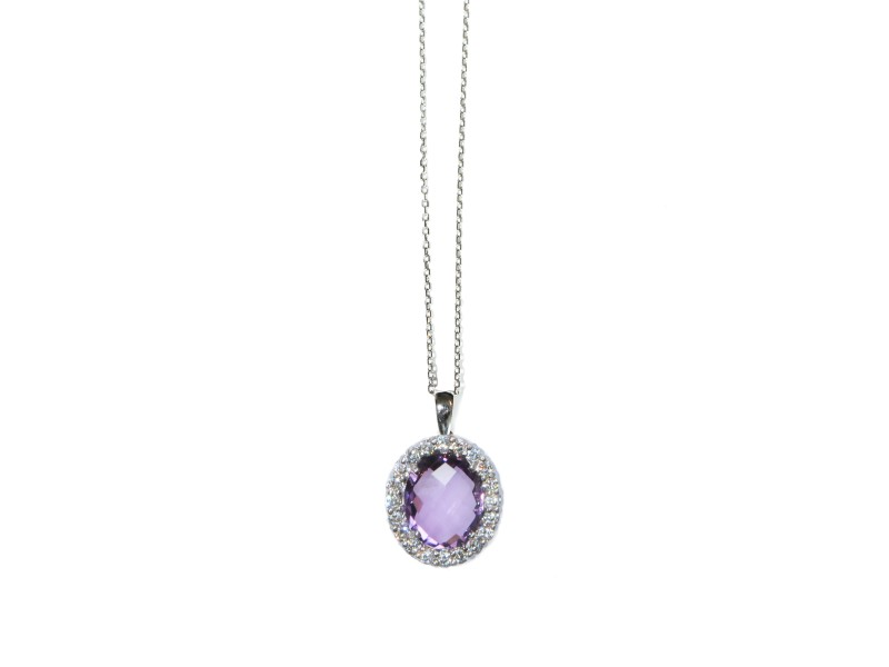 Sterling Silver White Topaz, Amethyst Necklace