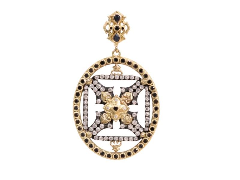 Armenta 18k Yellow Gold; Blackened Sterling Silver Pendant/enhancer
