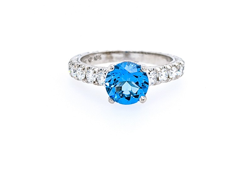 Jack Kelege KGR 1018 18k White Gold Swiss Blue Topaz, Diamonds Ring