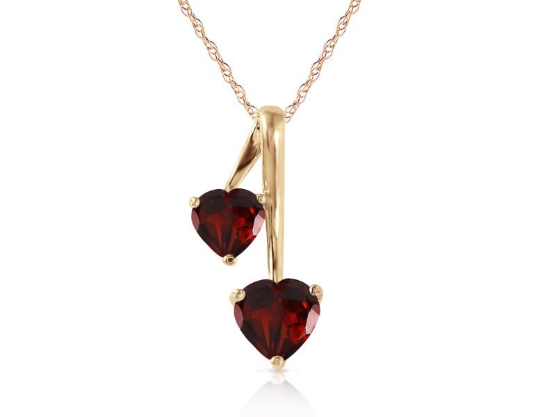 1.4 CTW 14K Solid Gold Hearts Necklace Natural Garnet