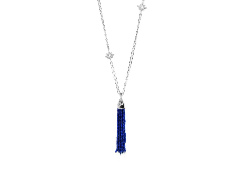 Anzie Sterling Silver Lapis, White Topaz Necklace