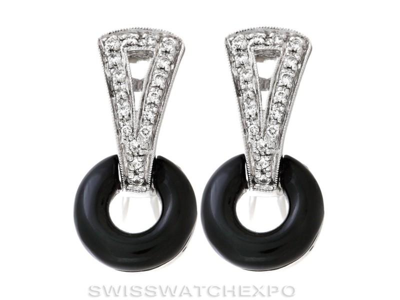 Beautiful 14k White Gold Onyx Diamond Earrings