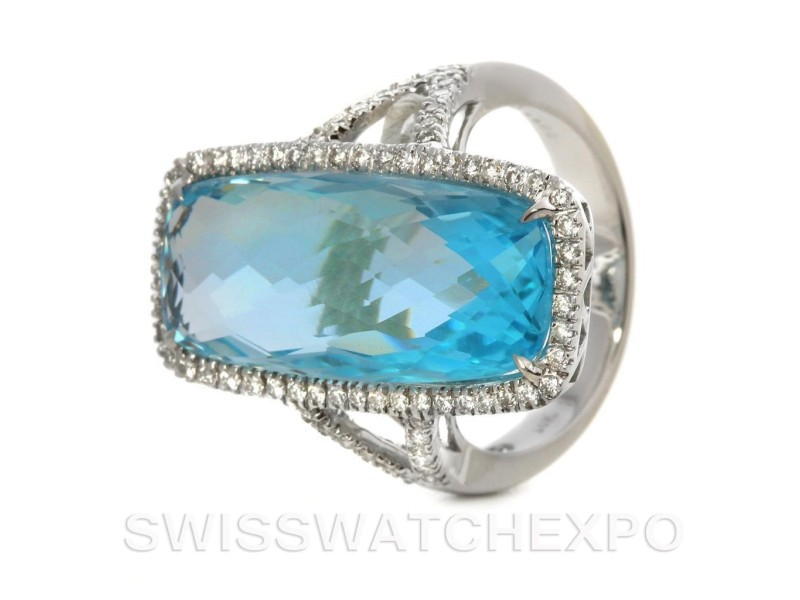 Elegantly Stylish 14k White Gold 13.69 Ct. Blue Topaz Diamond Ring