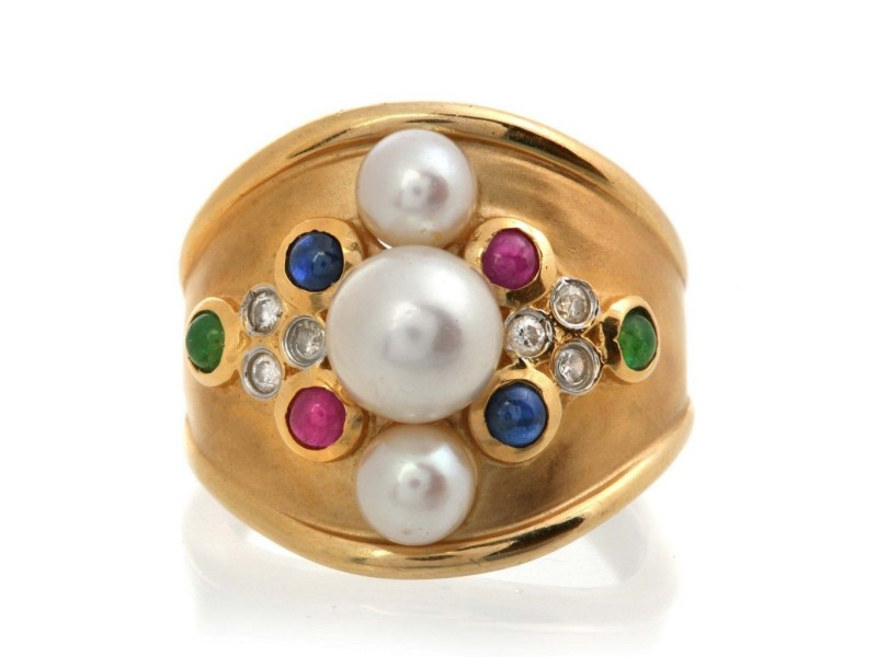 Estate 14k Gold Pearl Ruby Sapphire Emerald Diamond Ring