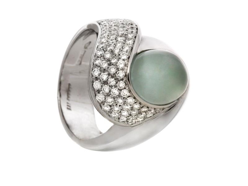 18k White Gold Cat's Eye Aquamarine Diamonds Ring