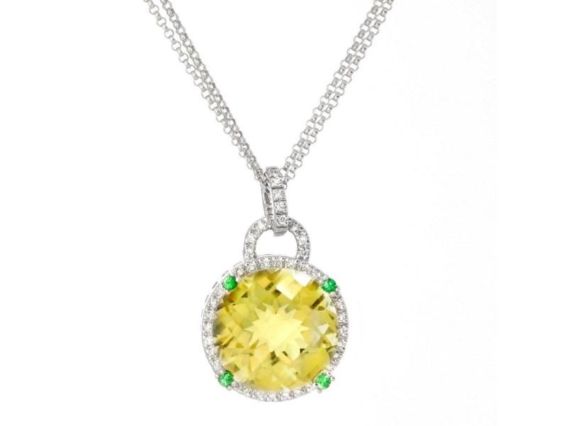 14k White Gold Lemon Quartz Diamond Pendant