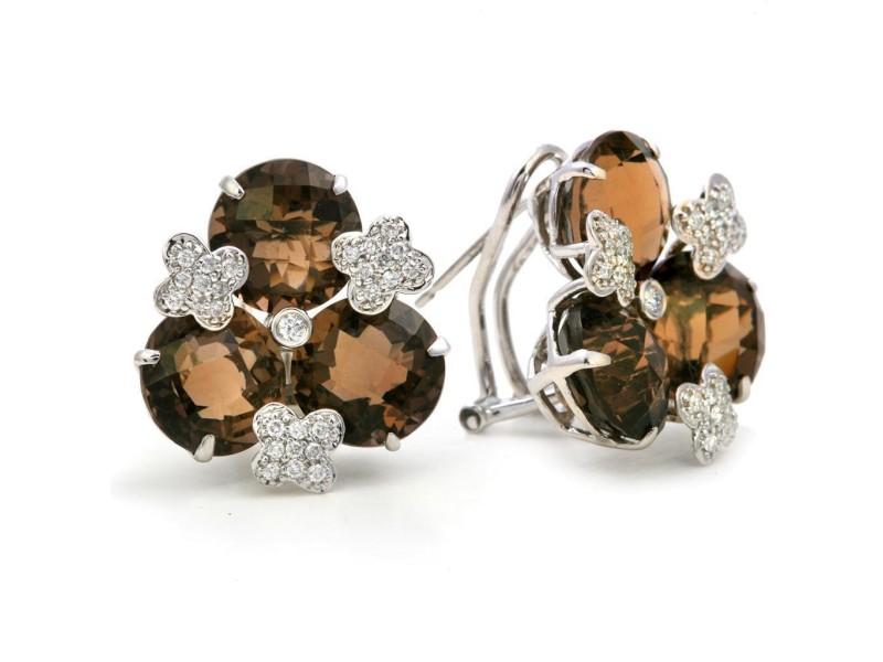 18k White Gold Smoky Quartz Diamond Earrings