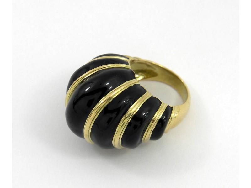 David Webb Gold Black Vintage Enamel Dome Ring