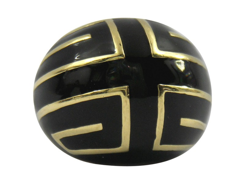 David Webb Black Enamel Gold Ring