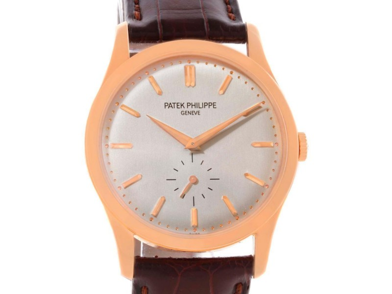 Patek Philippe 5196R Calatrava 18k Rose Gold Mechanical Mens Watch