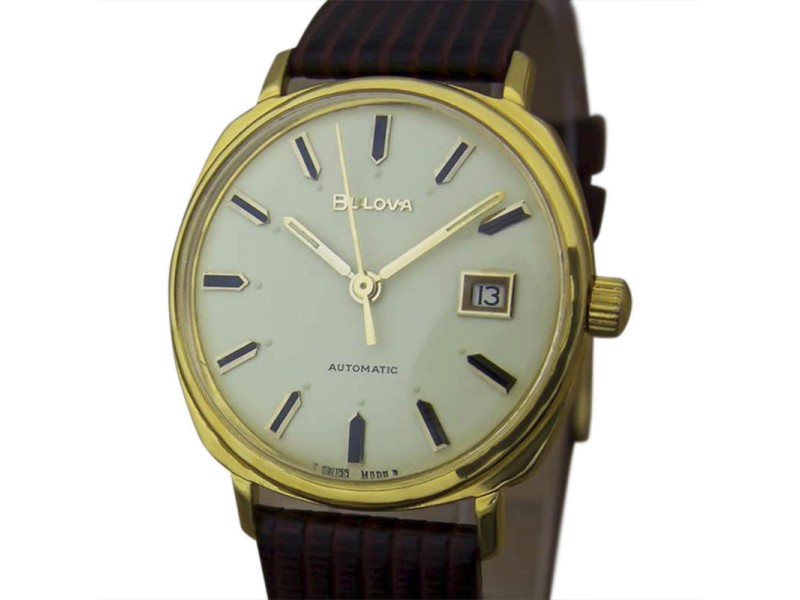 Bulova M8 Gold Plated Automatic 34mm Mens Vintage Dress Watch 1960s