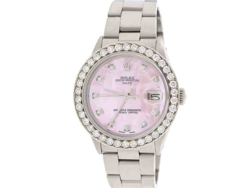 Rolex Oyster Perpetual Date 18K Yellow Gold with Silver Dial 34mm Womens  Watch e98d08d660