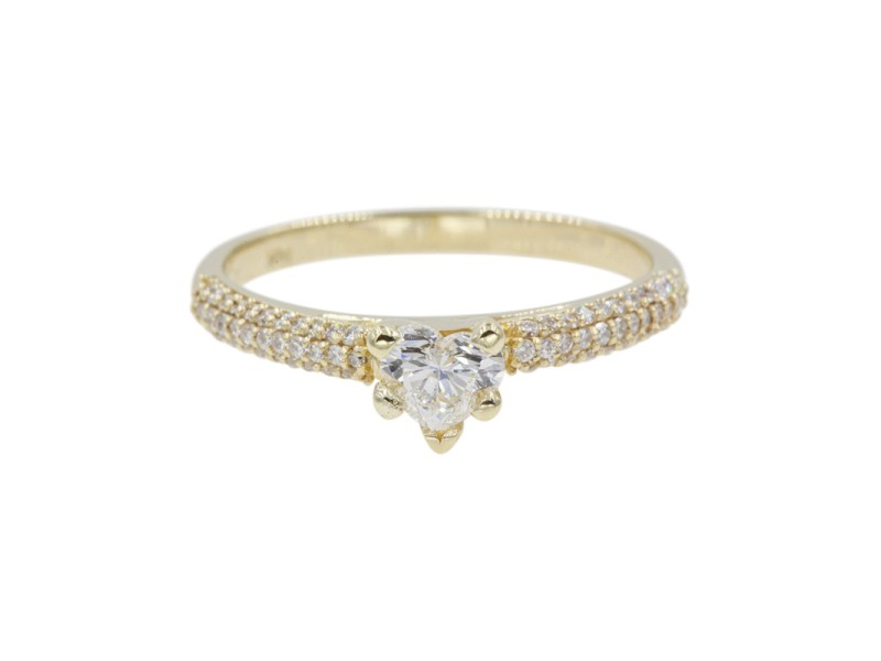 14K Yellow Gold with 0.41ct Heart Cut Diamond Engagement Ring Size 6