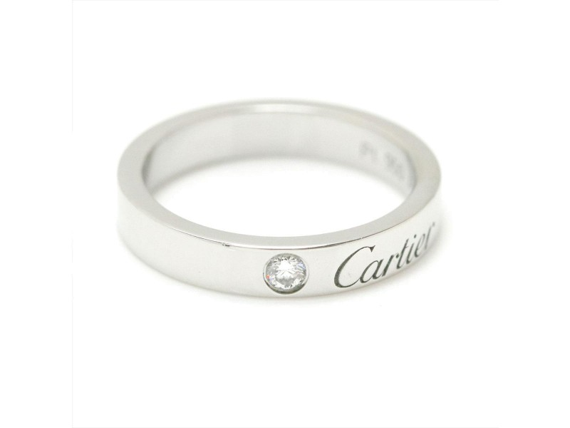 Cartier Platinum with 0.03ct Diamond Ring Size 3.25