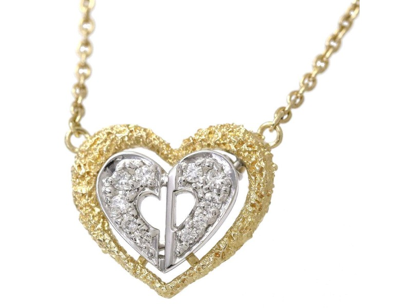 cda79d194e78d Christian Dior 18K Yellow and White Gold with Diamond Heart Pendant Necklace