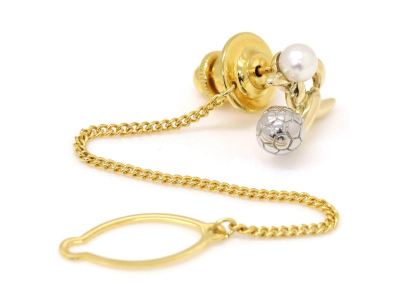 Mikimoto 18K Yellow Gold and Platinum with Akoya Cultured Pearl Football Motif Tie Tack Brooch