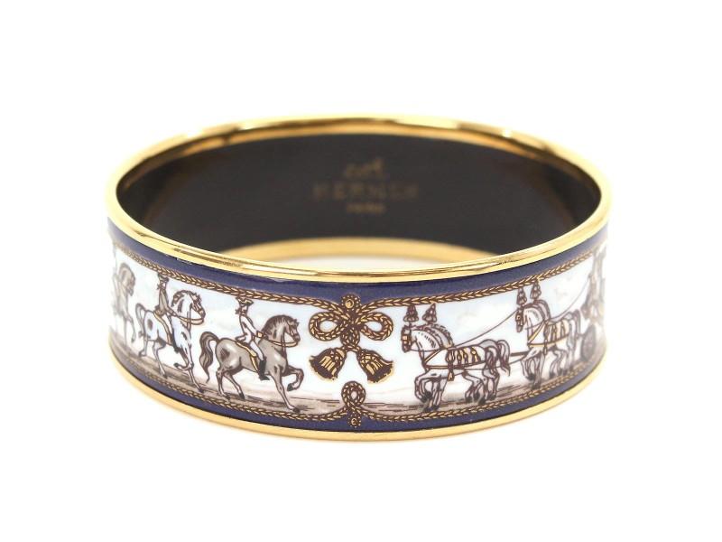Hermes Gold Tone Hardware and Enamel Bangle GM Cuff Bracelet