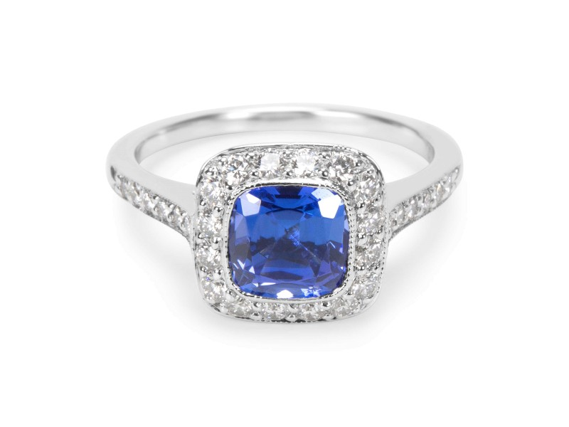 Tiffany & Co. Soleste PT950 Platinum with 1.27ct Tanzanite and 0.45ctw Diamond Ring Size 5
