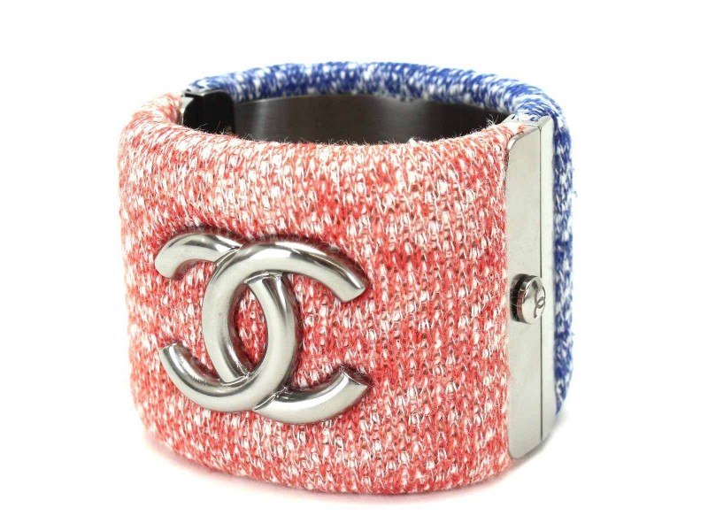 Chanel Tweed & Silver Tone Hardware Bangle Bracelet