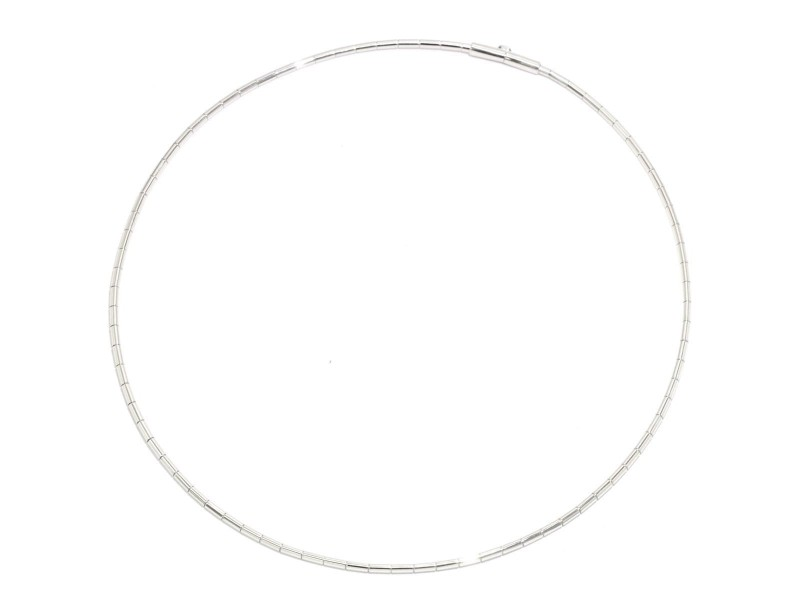 Cartier 18K White Gold Tube Necklace