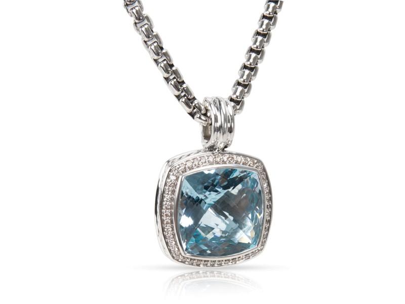 David Yurman Albion Sterling Silver Blue Topaz & 0.50ct Diamond Necklace