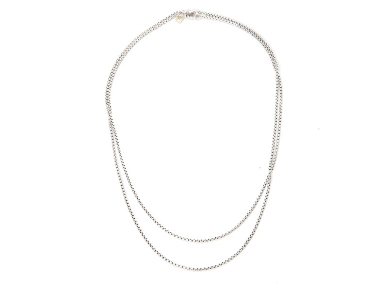 David Yurman Sterling Silver & 14K Yellow Gold Box Chain Necklace