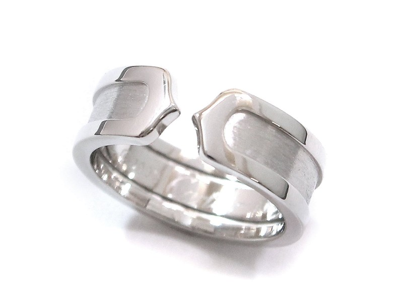 Cartier 2C Ring 18K White Gold Size 5.75