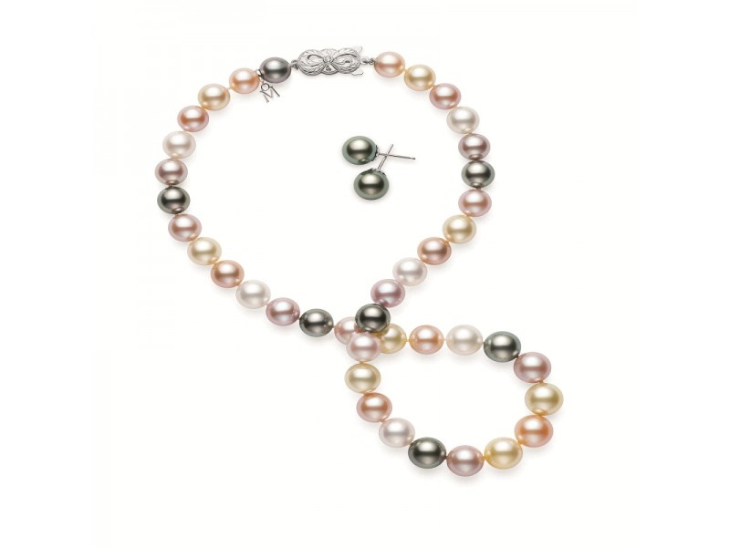 Mikimoto MNS115161ZRV02710 18k White Gold Pearl, Diamond Necklace