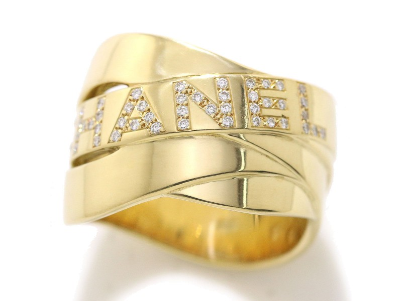 Chanel 18K Yellow Gold Diamond Ring Size 8.5