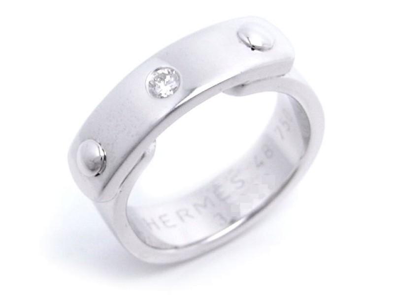 Hermes 18K White Gold Diamond Ring Size 4.5